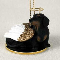 Black Dachshund Christmas Ornament Angel