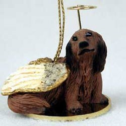 Dachshund Christmas Ornament Angel (Longhair)