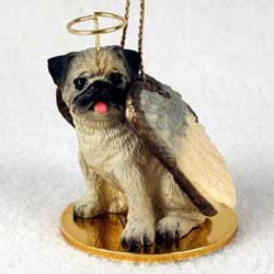 Pug Christmas Ornament Angel