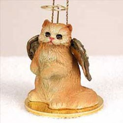 Persian Cat Christmas Ornament Angel (Red)