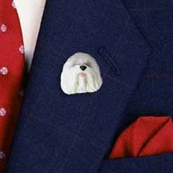 Old English Sheepdog Pin Hand Painted Resin