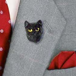 Black Cat Pin Hand Painted Resin