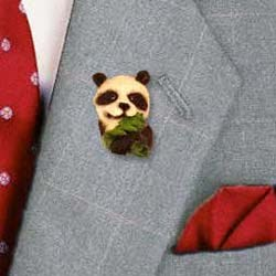 Panda Bear Pin Hand Painted Resin
