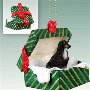 Afghan Hound Gift Box Christmas Ornament Black-White