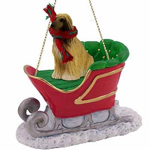 Afghan Hound Sleigh Ride Christmas Ornament Tan-White