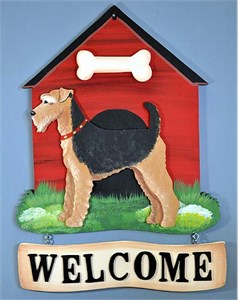 Airedale Terrier Welcome Sign