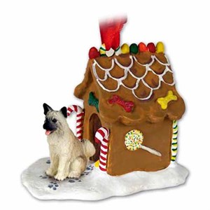 Akita Gingerbread House Christmas Ornament Fawn