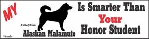 Alaskan Malamute Bumper Sticker Honor Student