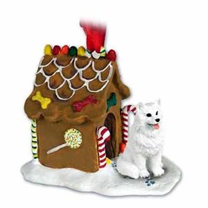 American Eskimo Dog Gingerbread House Christmas Ornament