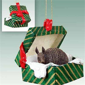 Armadillo Gift Box Christmas Ornament