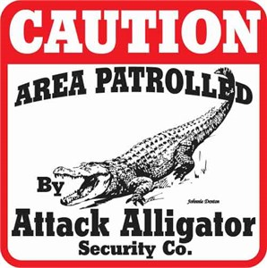 Attack Alligator Sign