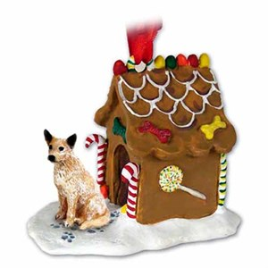 Australian Cattle Dog Gingerbread House Christmas Ornament Red