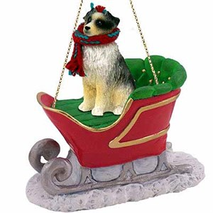 Australian Shepherd Sleigh Ride Christmas Ornament Blue