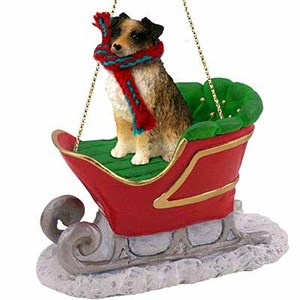 Australian Shepherd Sleigh Ride Christmas Ornament Brown