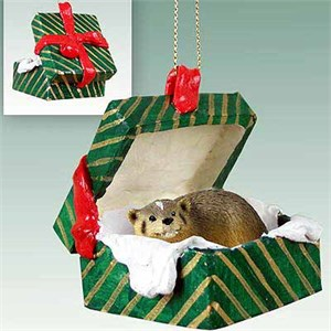Badger Gift Box Christmas Ornament