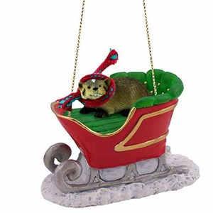 Badger Sleigh Ride Christmas Ornament