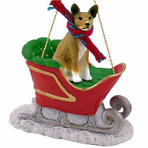 Basenji Sleigh Ride Christmas Ornament