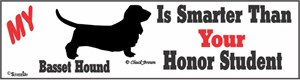 Basset Hound Bumper Sticker Honor Student