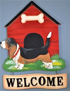 Basset Hound Welcome Sign Tri-Colored