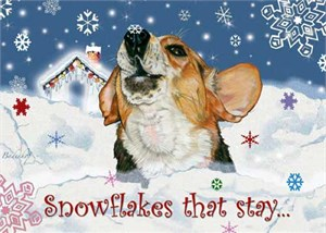 Beagle Christmas Cards Snowflakes