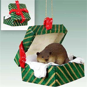 Beaver Gift Box Christmas Ornament