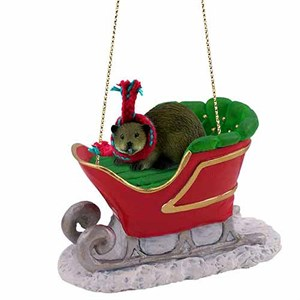 Beaver Sleigh Ride Christmas Ornament
