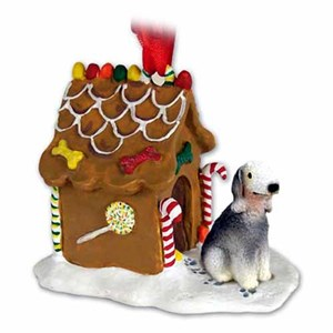 Bedlington Terrier Gingerbread House Christmas Ornament