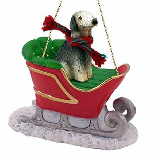 Bedlington Terrier Sleigh Ride Christmas Ornament