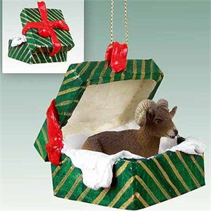 Big Horn Sheep Gift Box Christmas Ornament