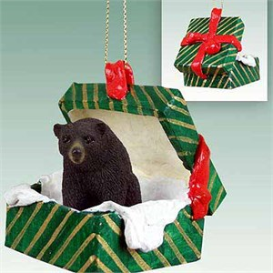 Black Bear Gift Box Christmas Ornament