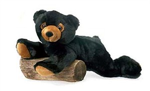 Laydown Black Bear Plush Stuffed Animal 15""