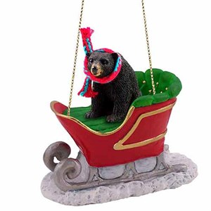 Black Bear Sleigh Ride Christmas Ornament