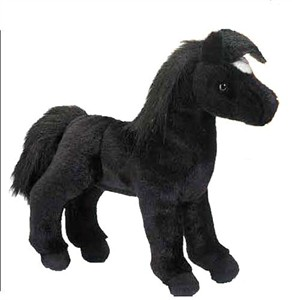 Roma Black Horse Plush Stuffed Animal 12""
