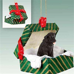 Black Lab Gift Box Christmas Ornament