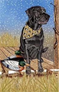 Black Labrador Christmas Cards Snowflakes