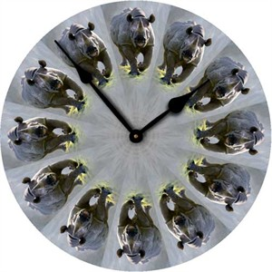 Rhinoceros Black Wall Clock