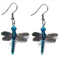 Blue Stripe Dragonfly Earrings True to Life