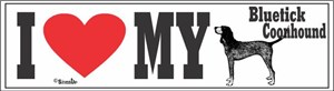 Bluetick Coonhound Bumper Sticker I Love My