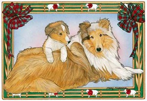 Border Collie Christmas Cards Mom & Pup