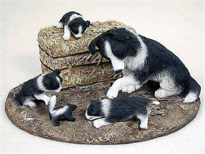 Border Collie Figurine Mom & Pups