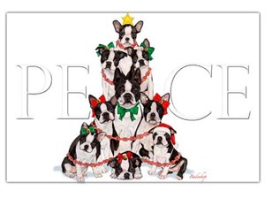 Boston Terrier Christmas Cards Peace