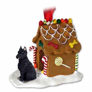 Bouvier Des Flandres Gingerbread House Christmas Ornament