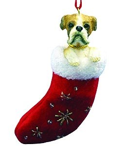 Boxer Christmas Stocking Ornament Uncropped