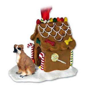Boxer Gingerbread House Christmas Ornament Uncropped