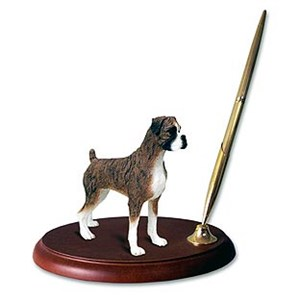 Boxer Pen Holder (Brindle Uncropped)