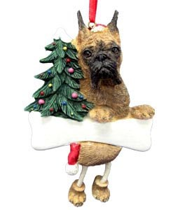Boxer Christmas Tree Ornament - Personalize (Brindle Cropped)