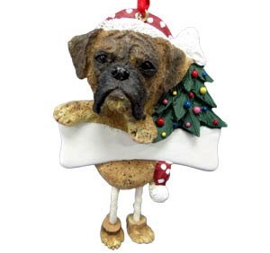 Boxer Christmas Tree Ornament - Personalize (Brindle Uncropped)