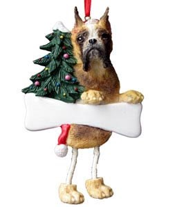 Boxer Christmas Tree Ornament - Personalize (Fawn Cropped)