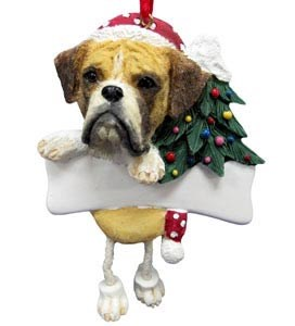 Boxer Christmas Tree Ornament - Personalize (Fawn Uncropped)