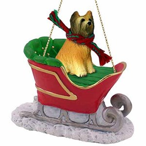 Briard Sleigh Ride Christmas Ornament